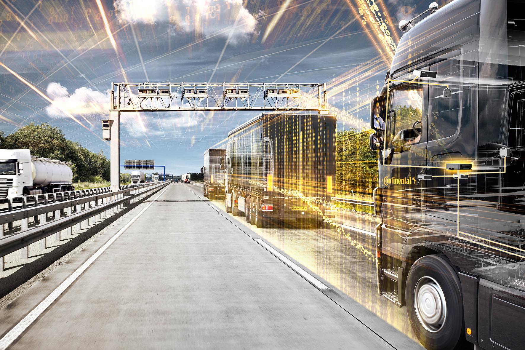 mid Groß-Gerau - Der Lkw-Verkehr der Zukunft: Die Lastzüge könnten schon bald dicht an dicht im Konvoi fahren und dadurch Sprit sparen.