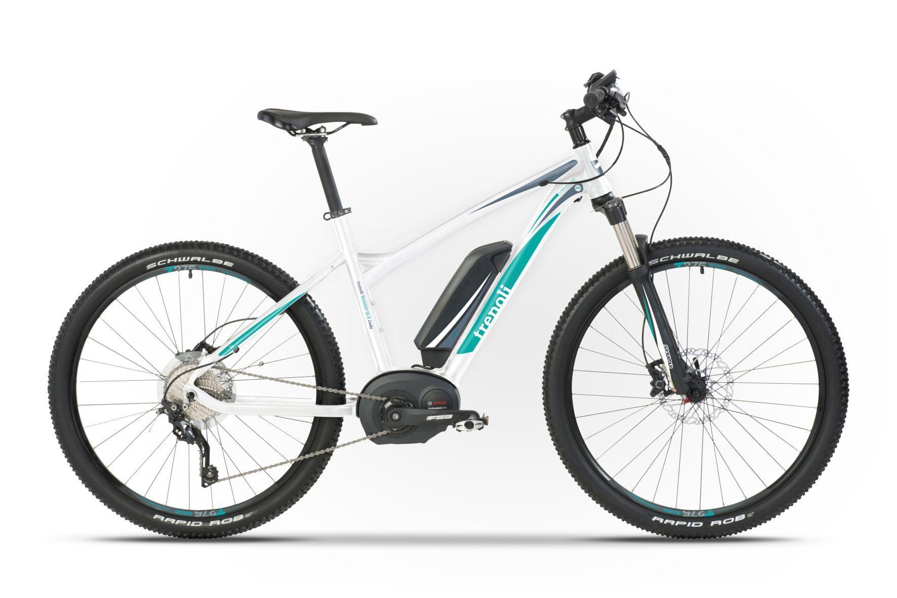 mid Groß-Gerau - E-Mountainbike speziell für Frauen: Das Trenoli Ruvido SLX Lady ist matt weiß und türkis lackiert und nutzt einen kräftigen Bosch-Antrieb.