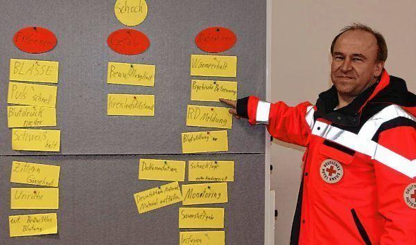 Ausbilder Gerd Drescher weist die Kursteilnehmer auf die verschiedenen Merkmale und Maßnahmen hin.
