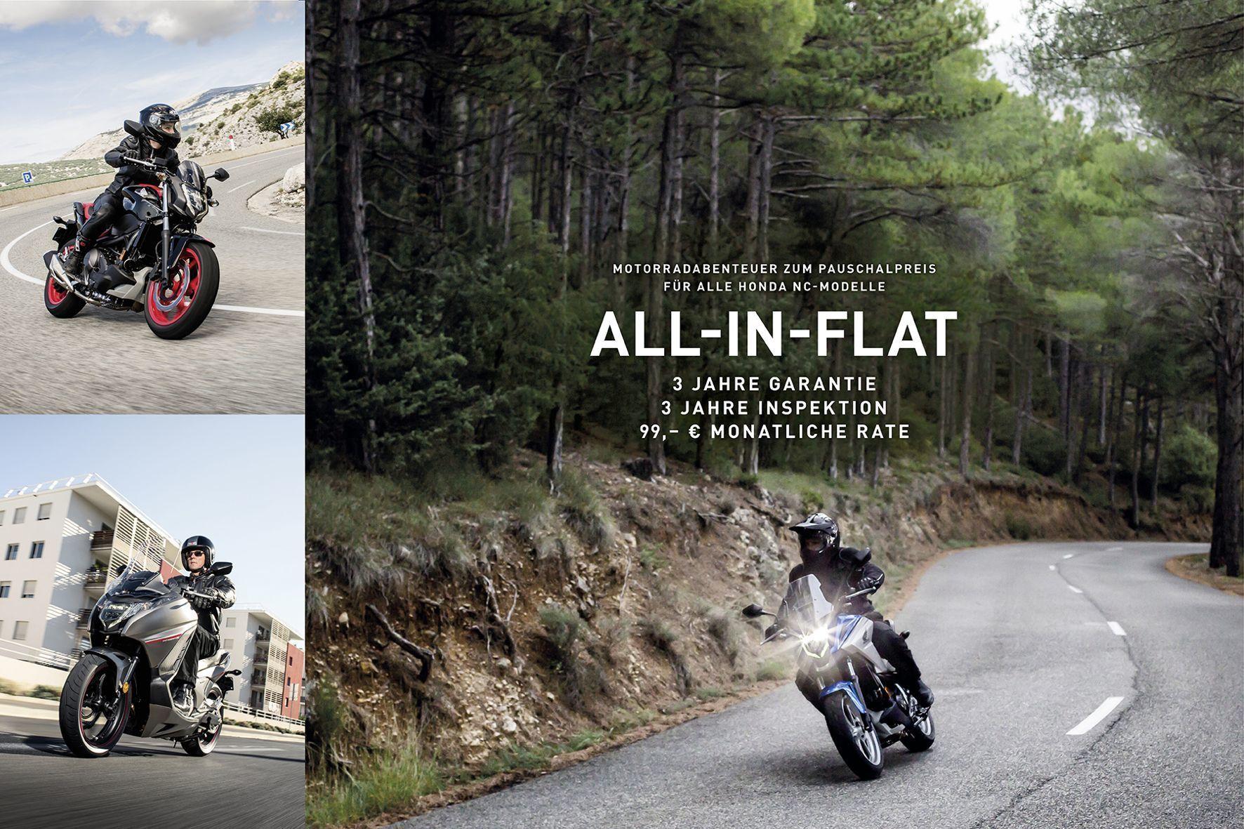 mid Groß-Gerau - Inspektionen inklusive: Honda bietet seine NC-Modelle jetzt mit All-in-Flatrate an.
