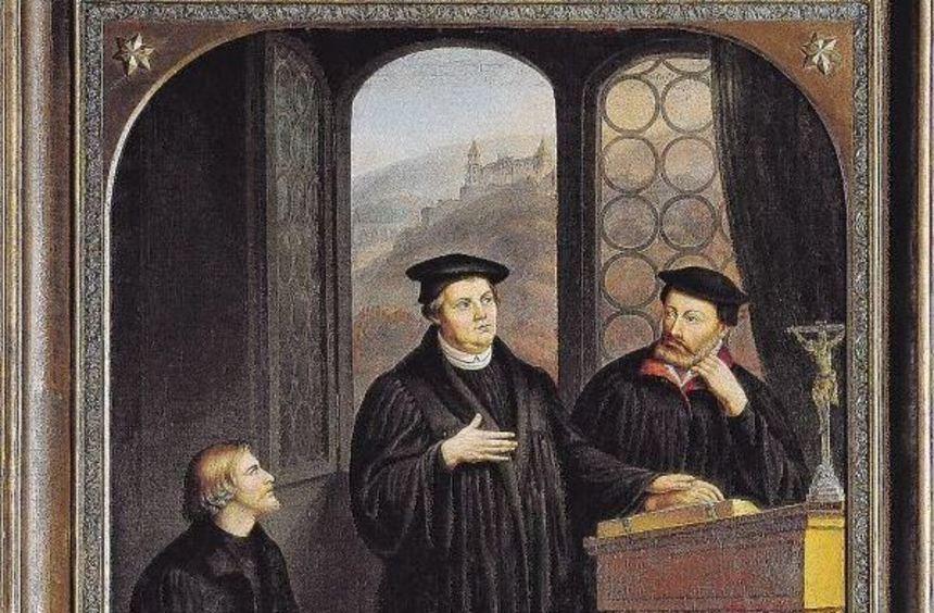 """""""Isenmann und Brenz im Gespräch mit Luther in Heidelberg"""" hat Gustav Baumann 1854 gemalt und wurde ..."""